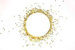 Star shaped golden sequins frame arranged in circle. stock photography