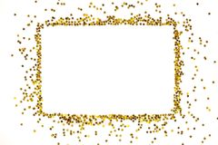 Star shaped golden sequins frame arranged in a rectangular form. Stock Photos