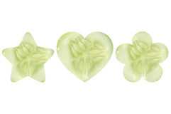 Star shaped, heart shaped and flower shaped halves of cucumber Royalty Free Stock Photo