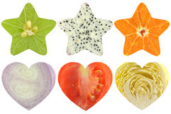 Star shaped and heart shaped fruit and vegetable Royalty Free Stock Images