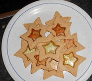 Star shaped homemade Christmas Cookies Royalty Free Stock Image
