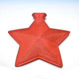 Star shaped hot water bottle. Close up of star shaped red hot water bottle, isolated on white background Stock Images