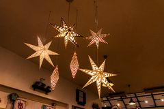 Star shaped lamp with vintage decoration royalty free stock image