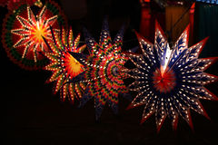 Star Shaped Lanterns. Beautiful star shaped lanterns lit up on occasion of Diwali / Christmas festival in India Stock Photo