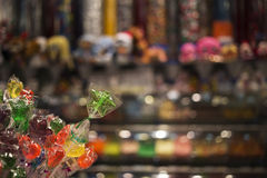 Star Shaped Lollipops in front of Candy Store Stock Photography