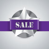 Star shaped metallic sale badge Royalty Free Stock Photo