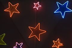 Star shaped neon lights. Colorful star shaped neon lights Royalty Free Stock Images