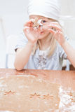 Star shaped piece of gingerbread dough Royalty Free Stock Photography