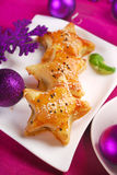 Star shaped puff pastries with mushroom fiiling for christmas Stock Photography