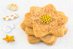Star-shaped shugar cookies close-up on a white background Royalty Free Stock Photo