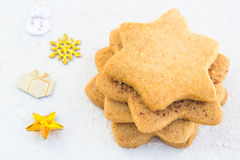 Star-shaped shugar cookies close-up on a white background Stock Image