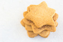 Star-shaped shugar cookies close-up on a white background Stock Photography