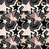 Star shapes graffiti seamless hand craft expressive ink hipster. Pattern.Funky style painted texture with different doodles for textile,wrapping,decoration stock illustration