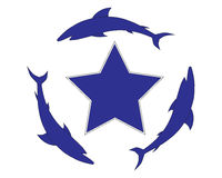 A star with sharks. Vector design of a star with three sharks Stock Images