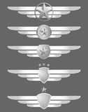Star shield and wings emblems stock illustration