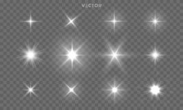 Free Star Shines And Light Glow Sparks, Vector Bright Flare Sparkles. Star Flash Effect On Transparent Background, Isolated Sun Royalty Free Stock Photo - 154503675