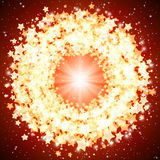 Star shining round frame on a on a red background. Stock Photo