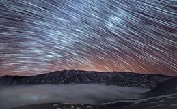 Star shower in mountain royalty free stock photography