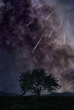 Star shower. Night landscape with starry sky and bright meteors flying by Stock Images