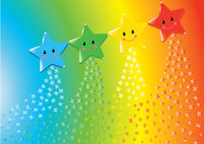 Star shower from a rainbow Royalty Free Stock Images