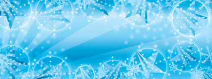 Star side stripe snowflake blue banner effect. This illustration is design star side stripe with snowflake in blue color background and banner size Stock Photo