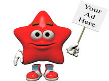 Star Sign. A bright red smiling emoticon holding a sign just right for your ad.  Computer Generated Image, 3D models Stock Images