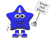 Star Sign. A bright blue smiling emoticon holding a sign just right for your ad.  Computer Generated Image, 3D models Royalty Free Stock Images