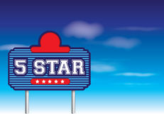 5 star sign in retro vintage roadside advertising  Stock Photography