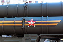 Star sign and St. George ribbon on Russian missile system Royalty Free Stock Photography