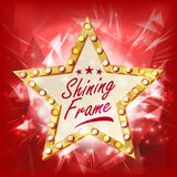Gold Star Frame Vector. Beauty Diamond Star Emblem. Shine Lamp. Advertising Design Element. Decoration Illustration. Star Sign Vector. Glowing Element. Retro Royalty Free Stock Photos