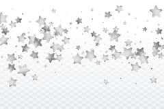 Star silver confetti. Celebrate background. Silver sparkles and dots on black backdrop. Luxury invitation card template. Falling stars. Glitter background Royalty Free Stock Images