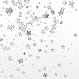 Round gold confetti. Star silver confetti. Glitter vector celebrate background. Silver sparkles and dots on black backdrop. Christmas party invitation card Royalty Free Stock Image