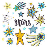 Star sketches isolated set. Doodle hand drawn vector illustration Royalty Free Stock Photography