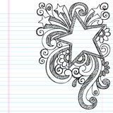 Star Sketchy Doodle Picture Frame Vector Design. Star Frame Border Back to School Sketchy Notebook Doodles- Vector Illustration Design on Lined Sketchbook Paper Stock Photo