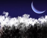 Star sky and clouds. Shone circle of the moon in darkness on a background of the star sky and clouds stock illustration