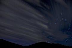Star sky clouds tracks Stock Image