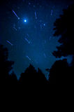 Star in the sky. Comet in the sky with tree silhouette royalty free stock photography