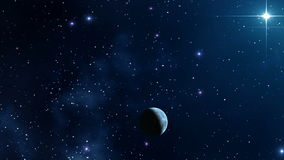 Star sky and planet. stock footage