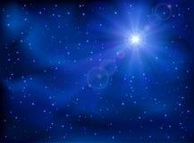 Star in the sky. Shining star in the dark blue night sky, illustration Stock Photo