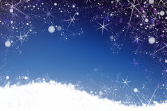 Star and snow winter background Royalty Free Stock Photo