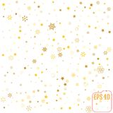 Star and Snowflake pattern. white, background, gold, gift wrap. Vector illustration Royalty Free Stock Photography
