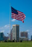 Star Spangled Banner Flag over Baltimore. The 15 star flag known as The Star Spangled Banner Flag, that flies over Federal Hill with the  Skyline of Baltimore in Stock Photography