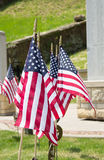 Star Spangled flags at a war memorial Stock Image