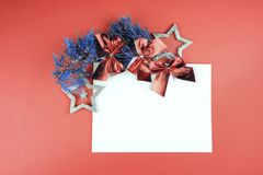 Star with sparkles on Living Coral background royalty free stock image