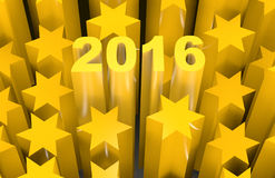 2016 star. 2016 spelled in 3d in the middle of yellow stars Stock Images