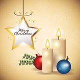 Star sphere candle merry christmas icon. Vector graphic Stock Image