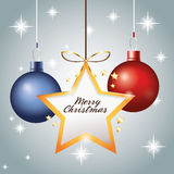 Star sphere merry christmas icon. Vector graphic Royalty Free Stock Images