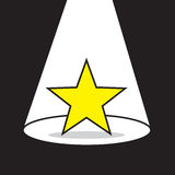 Star Spotlight. Yellow star with bright spotlight Stock Image