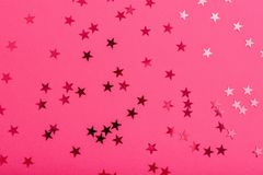 Star sprinkles on pink. stock image