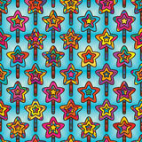 Star stick tree colorful seamless pattern Stock Photography